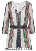Alice + Olivia Alice Olivia - Nance Tassel-trimmed Embroidered Cotton-gauze Playsuit - Blue