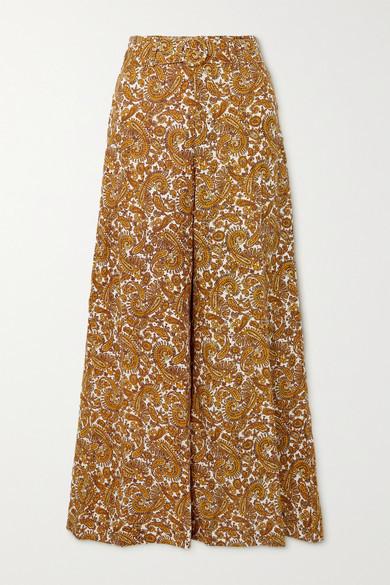 Faithfull The Brand Net Sustain Manuela Belted Paisley-print Linen Wide-leg Pants