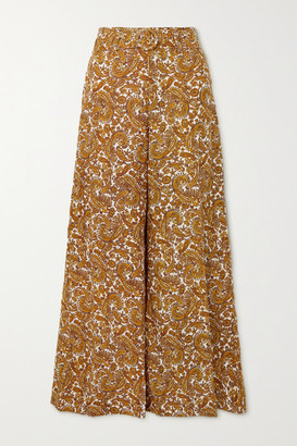 Faithfull The Brand + Net Sustain Manuela Belted Paisley-print Linen Wide-leg Pants - Mustard