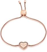 Michael Kors Heritage PVD Rose Goldtone Stainless Heart Bracelet w/Crystals