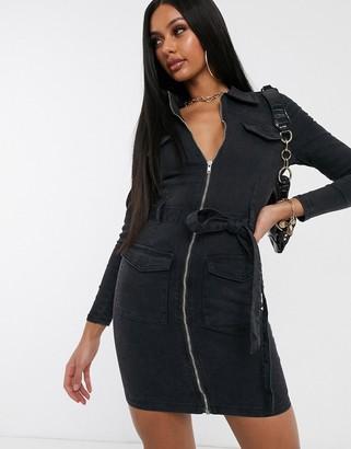 Parisian tie waist utility dress in charcoal-Grey