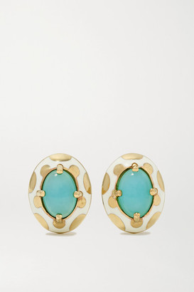 Alice Cicolini Memphis 14-karat Gold, Enamel And Opal Earrings - one size