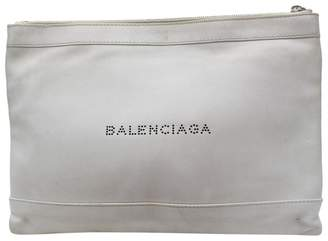 Balenciaga Navy cabas White Leather Clutch bags
