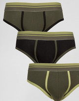 Asos U Bound Briefs In Khaki With Stripe Waistband 3 Pack Save