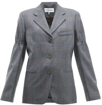 Loewe Gathered-sleeve Single-breasted Wool Blazer - Grey Multi