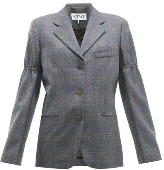 Loewe Gathered-sleeve Single-breasted Wool Blazer - Womens - Grey Multi