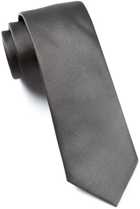 Tie Bar Grosgrain Solid Titanium Tie