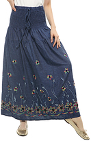 Dark Blue Floral-Embroidered Maxi Skirt - Plus