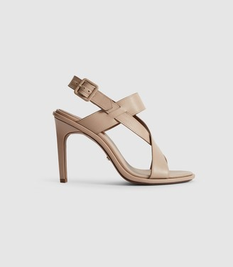 Reiss ELOISE CROSS-FRONT HEELED SANDALS Taupe/tan