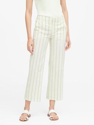 Banana Republic Petite Slim Wide-Leg Stripe Cropped Pant