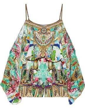 Camilla Champagne Coast Cold-shoulder Embellished Printed Washed-silk Playsuit