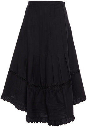 See by Chloe Asymmetric Pleated Cotton-poplin Midi Skirt