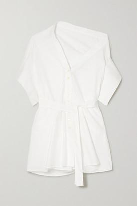 Palmer Harding Palmer//Harding palmer//harding - Jasmin Asymmetric Belted Cotton-blend Poplin Shirt - White