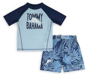 Tommy Bahama Little Boy's 2-Piece Logo Graphic Rashguard & Hibiscus-Print Swim Shorts Set