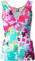 Blumarine gathered front floral print top