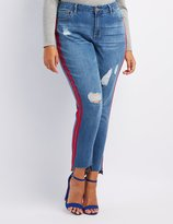 Charlotte Russe Plus Size Striped Distressed Skinny Jeans