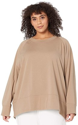 Eileen Fisher Plus Size Organic Cotton Stretch Jersey Round Neck Top (Driftwood) Women's Clothing