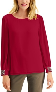 JM Collection Beaded Smocked-Cuff Top, Created for Macy's