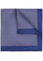 Salvatore Ferragamo Blue Printed Silk Pocket Square