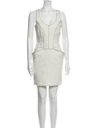 Thierry Mugler Scoop Neck Mini Dress White