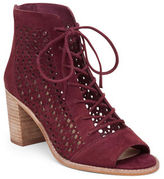 Vince Camuto Trevan Perforated Block Heel Suede Ankle Boots
