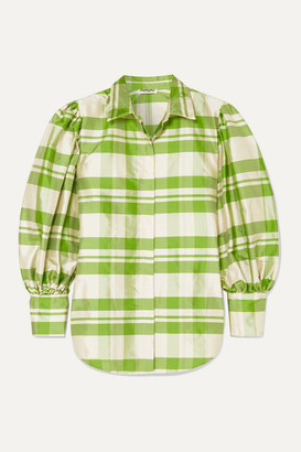 AVAVAV Checked Silk-charmeuse Blouse - Green