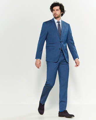 Vince Camuto Two-Piece Blue Tic Weave Slim Fit Suit