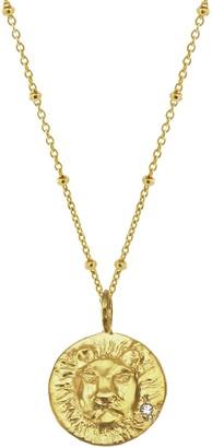 Yvonne Henderson Jewellery Gold Zodiac Necklace With White Sapphire Leo