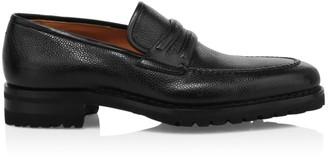 Santoni Pebbled Leather Penny Loafers