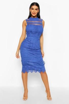 boohoo High Neck Crochet Lace Bodycon Midi Dress