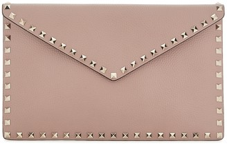 Valentino Rockstud taupe leather clutch