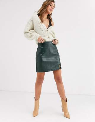 Topshop faux leather mini skirt in green croc