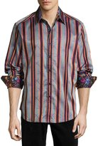 Robert Graham Ornaments Long-Sleeve Striped Sport Shirt, Orange