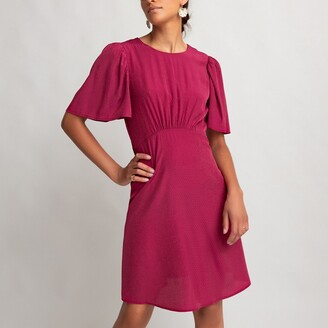 La Redoute Collections Mini Flared Dress with Ruffled Short Sleeves