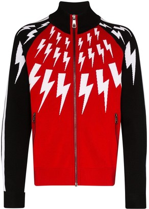 Neil Barrett Thunderbolt-Print Zip-Up Cardigan