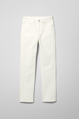 Weekday Case High Straight Split Jeans - White