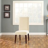 Sure Fit Stretch Pinstripe Short Dining Room Chair Cover, Cream