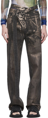 Ottolinger Black and Gold Loose Wrap Jeans