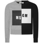 MSGM MSGMGirls Grey & Black Branded Sweater