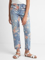 Stretch tropic floral girlfriend jeans