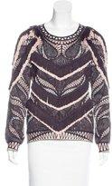 Herve Leger Fringe-Trimmed Knit Sweater