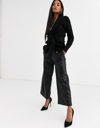 Ichi embossed snake faux leather cropped pants