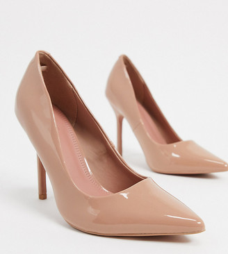 ASOS DESIGN Wide Fit Phoenix pointed high heeled court shoes in beige patent