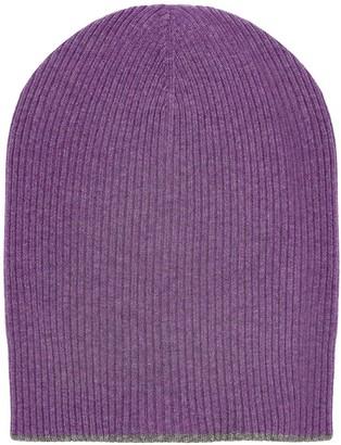 Brunello Cucinelli Contrast-Trim Cashmere Beanie Hat