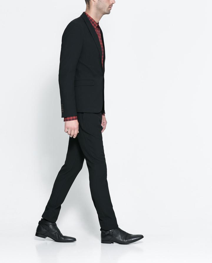 Zara Black Structured Suit With Pocket Handkerchief