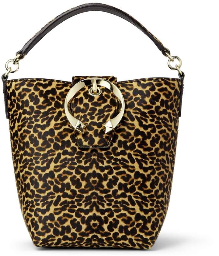 Jimmy Choo MADELINE BUCKET Natural Mix Leopard Print Pony Bucket Bag with Metal Buckle