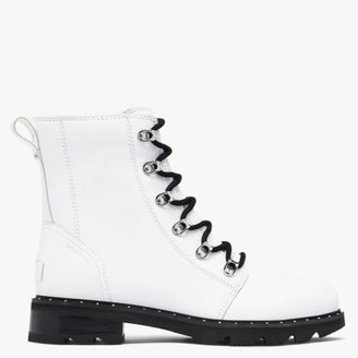 Sorel Lennox Lace White Leather Ankle Boots