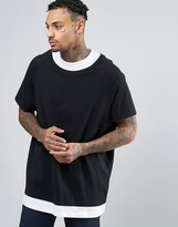 Asos Super Oversized T-Shirt With Double Layer In Black And White
