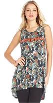 Monroe Marilyn Juniors Top, Sleeveless Camouflage-Print Studded Tunic