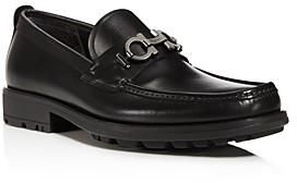 Salvatore Ferragamo Men's David Double Gancini Bit Thick Lug Leather Loafers - Wide